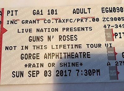 GUNS N' ROSES 1 GA PIT FLOOR TICKET,THE GORGE,WA Sept 3,2017 SOLD OUT #1 VENUE