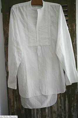 Antique French men's cotton SHIRT collarless plastron PINTUCKS c 1920