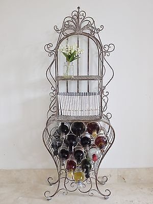 Ornate Metal Wine Rack Display Unit With Industrial Shabby Chic Design