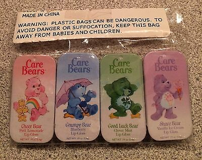 4 Vintage Care Bears Lip Gloss Tin New Sealed Grumpy Good Luck Share Cheer