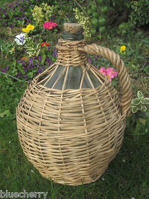 Old Vintage French GREEN GLASS DEMIJOHN Bonbonne WINE BOTTLE WICKER ENCASED 40's