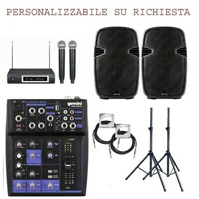 IMPIANTO KARAOKE 825 PACK kit coppia casse + microfoni wireless + mixer +stativi