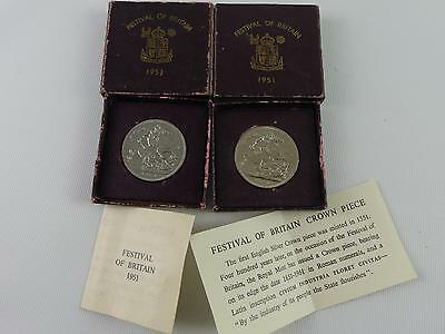 (Ref165CC) Pair of Festival of Britain 1951 crown Coins Boxed With Certificates