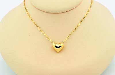 Tiffany & Co 18K Yellow Gold Solid Heart Pendant Necklace 16 Inches