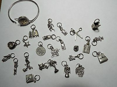 Lot of 24 Silver Charms Most Sterling Silver 70.3 Grams Most Marked Some Not