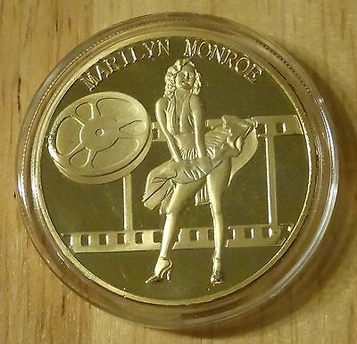 Marilyn Monroe commemorative coin collectors token 24 karat gold plated