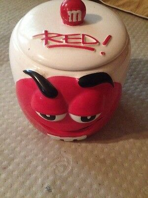M&M's 2003 Red/White Ceramic Cookie/ Candy Jar