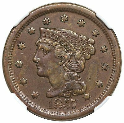 1857 Braided Hair Large Cent, Large Date, N-1, NGC XF40