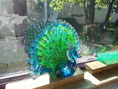 Blown Glass Stained Glass Art Peacock