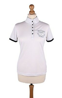 QHP Special Edition Competition Shirt White with Navy Detail Size 10