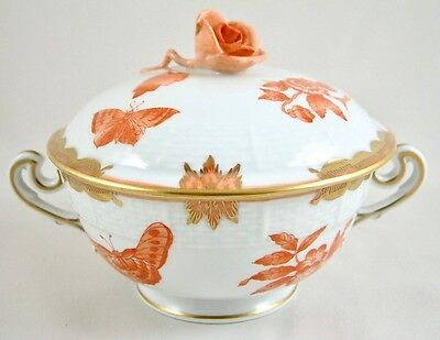 Herend Porcelain Fortuna/queen Victoria Rust Vboh Cream Soup Coupe & Cover 744