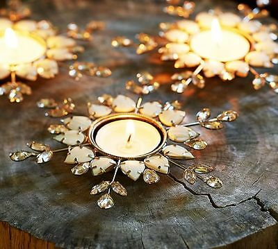NEW Pottery Barn Winter Snowflake Tealight Candle Holder Mother of Pearl Beads