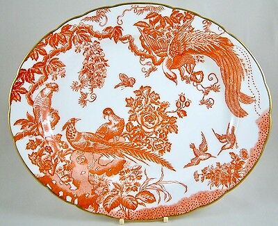 """Royal Crown Derby China Red Aves 13"""" Oval Serving Platter 1St Excellent!"""