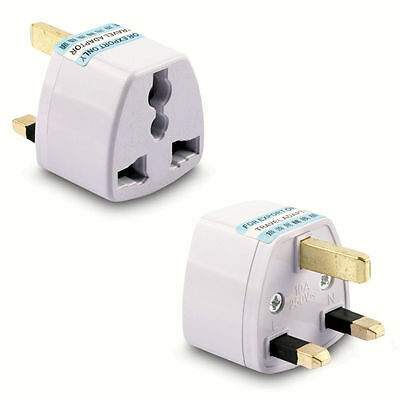 EU US AUS To UK 3 Pin 10A Travel AC Power Adapter Plug Socket 250V AC New White