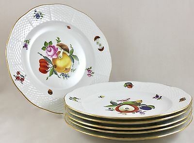 "Herend Porcelain Fruits & Flowers Bfrn 9"" Luncheon Plates 522 X 6 1St Mint!"