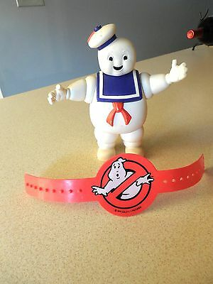 Vintage Set 1984 Ghostbusters STAY PUFT FIGURE & Red Plastic Armband EUC