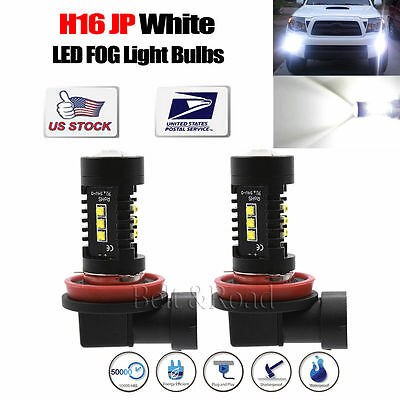 2 Pcs H16 JP CREE LED White Fog Light Bulbs Replacement 80W 2000LM 6000K DRL