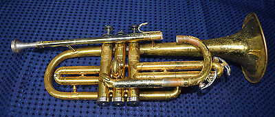 Conn Cornet Trumpet For Parts Or Repair With Distressed Case