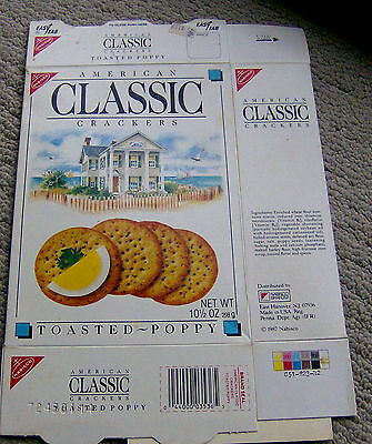RARE vintage 1987 AMERICAN CLASSIC CRACKERS box NABISCO GRAPHIC! food packaging