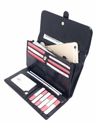Womens Wallet Lady Genuine Leather Clutch Trifold Purse Holder Zip Card Black US