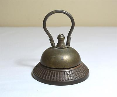 """Antique Cast Metal/Brass 1870 Hotel Front Desk Bell w/ Handle to """"Ring"""""""