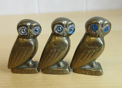 3 small Vintage Solid Brass  Owl owls With Blue Glass Eyes