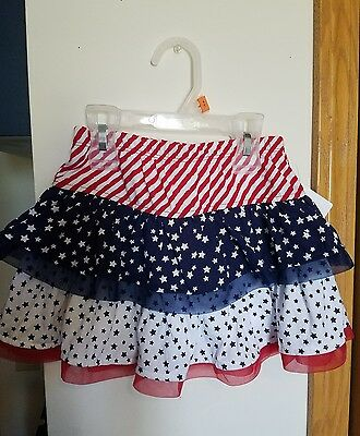 Patriotic Red White & Blue Infant Toddler Girls Tulle Skirt Size 4T, NWT