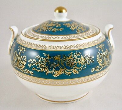 Wedgwood China Columbia Blue & Gold R4509 Covered Sugar Bowl 1St Perfect!