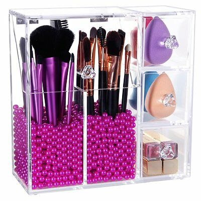 Langforth Acrylic Makeup Organiser dustproof brushes drawers holder pearls BOX