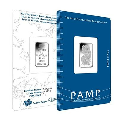 2.5 gram PAMP FORTUNA  platinum bullion bar