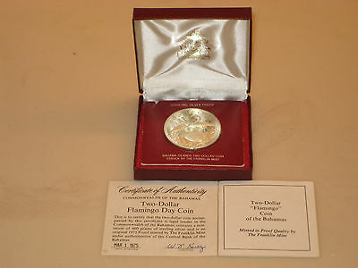 Franklin Mint Sterling Silver 1975 Two Dollar Flamingo Day Coin with COA