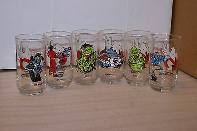 Set of 6 Vintage 1989 Ghostbusters Promo Drinking Glass Tumbler