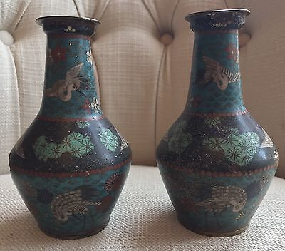 "Antique Pair Chinese Cloisonne Vases 5.75"" Cranes & Floral Wire Enamel 19th C"