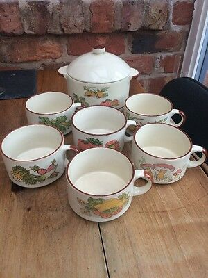 Set Of 6 Shell Promotional Soup Bowls, With Rare Soup Tureen.