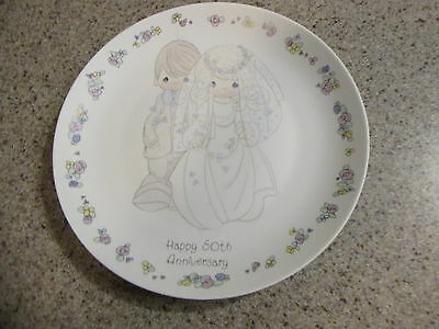 "PRECIOUS MOMENTS! - 1988, 6.5"" Diameter, 50th Wedding Anniversary Plate"