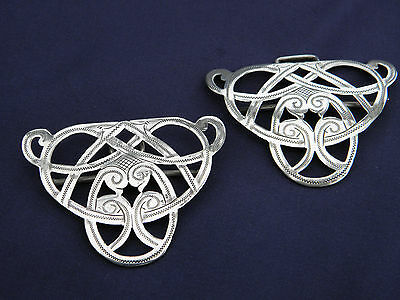 Beautiful Antique Pair Of Ornate Solid Silver Belt Buckles