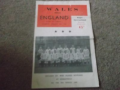 Wales V England *pirate Programme* @ Cardiff 15Th January 1949 M.walker