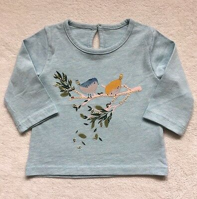 New ex M&S baby girls blue little bird top age 0-3 3-6 6-9 9-12 12-18 months