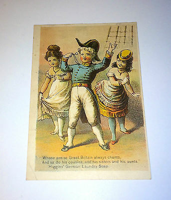 "Antique Higgins' ""German Laundry Soap"" Victorian Advertising Trade Card Brooklyn"
