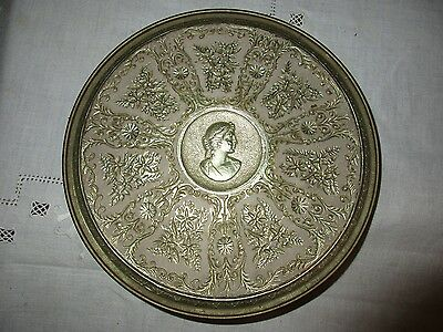 Antique Vintage Victorian Round Metal Trivet, Hot Pad, Plate