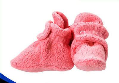 Fleece Baby Booties with 100% Organic Cotton Lining, 6 to 12 Months, Pink