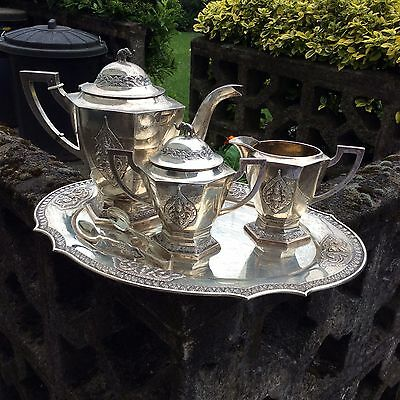 Thailand Sterling Chinese Export Silver 5 Piece Tea Set Superb