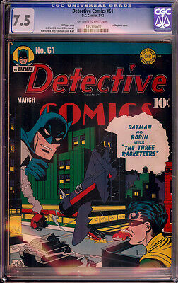 DETECTIVE COMICS #61 (1942) CGC 7.5 VF- (OWW) Great Batman cover!