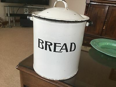 Large Vintage Enamel White Bread / Pet / Food Bin Container Storage Shabby Chic