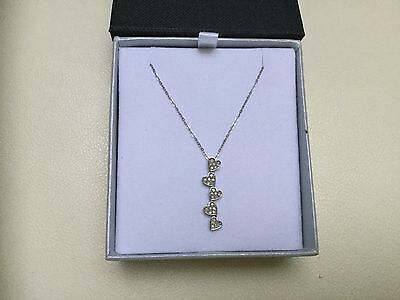 Ladies 9Ct White Gold Diamond Set Love Heart Pendant And Chain