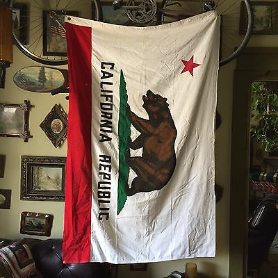 VINTAGE Cotton 4x6 California Republic USA State Bear Flag Pennant Antique Large