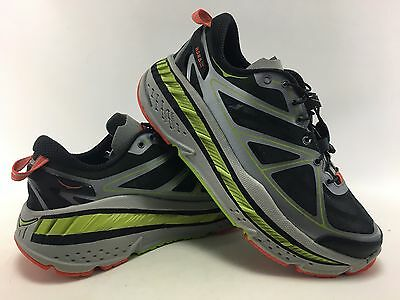 Hoka One One Men's Stinson Lite Running Shoes in Grey/Lime/Red Size 8