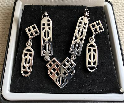 Charles Rennie Mackintosh Silver Necklace & Earring Set Vintage Glasgow