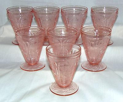 """8 Jeannette CHERRY BLOSSOM PINK *3 3/4"""" FOOTED JUICE TUMBLERS*"""