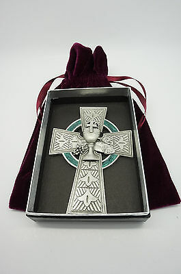 NEW! Pewter Celtic Cross with Green Enamel for the wall.Eucharistic Minister